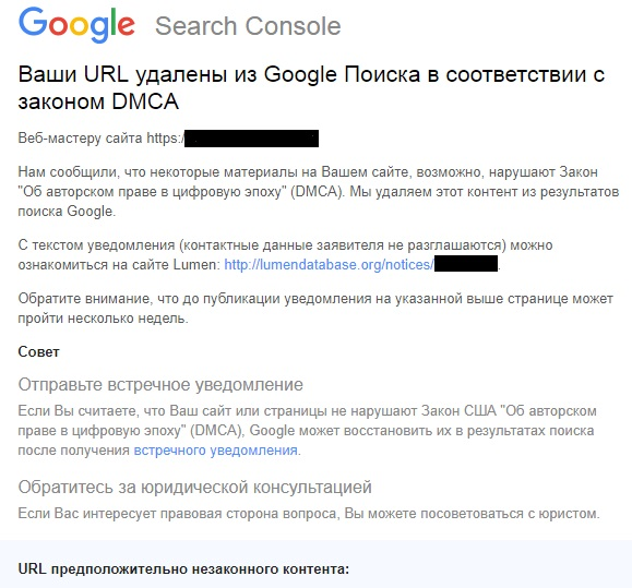 Google DMCA Search Console