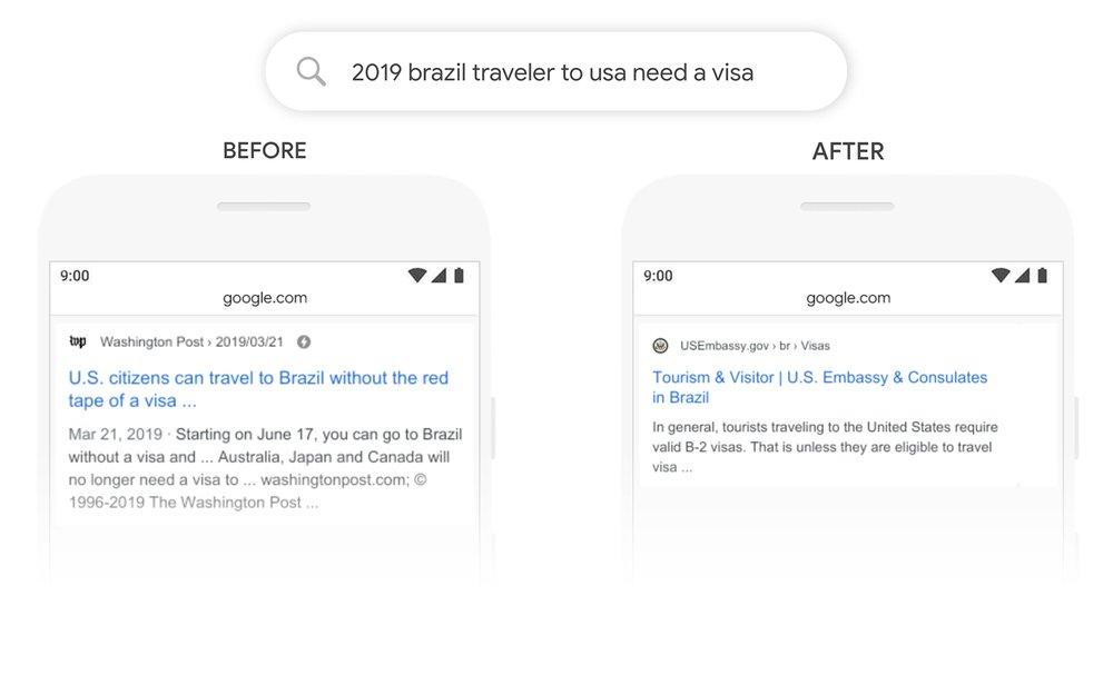 Google BERT пример выдачи